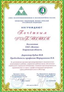 Почетный диплом 2014